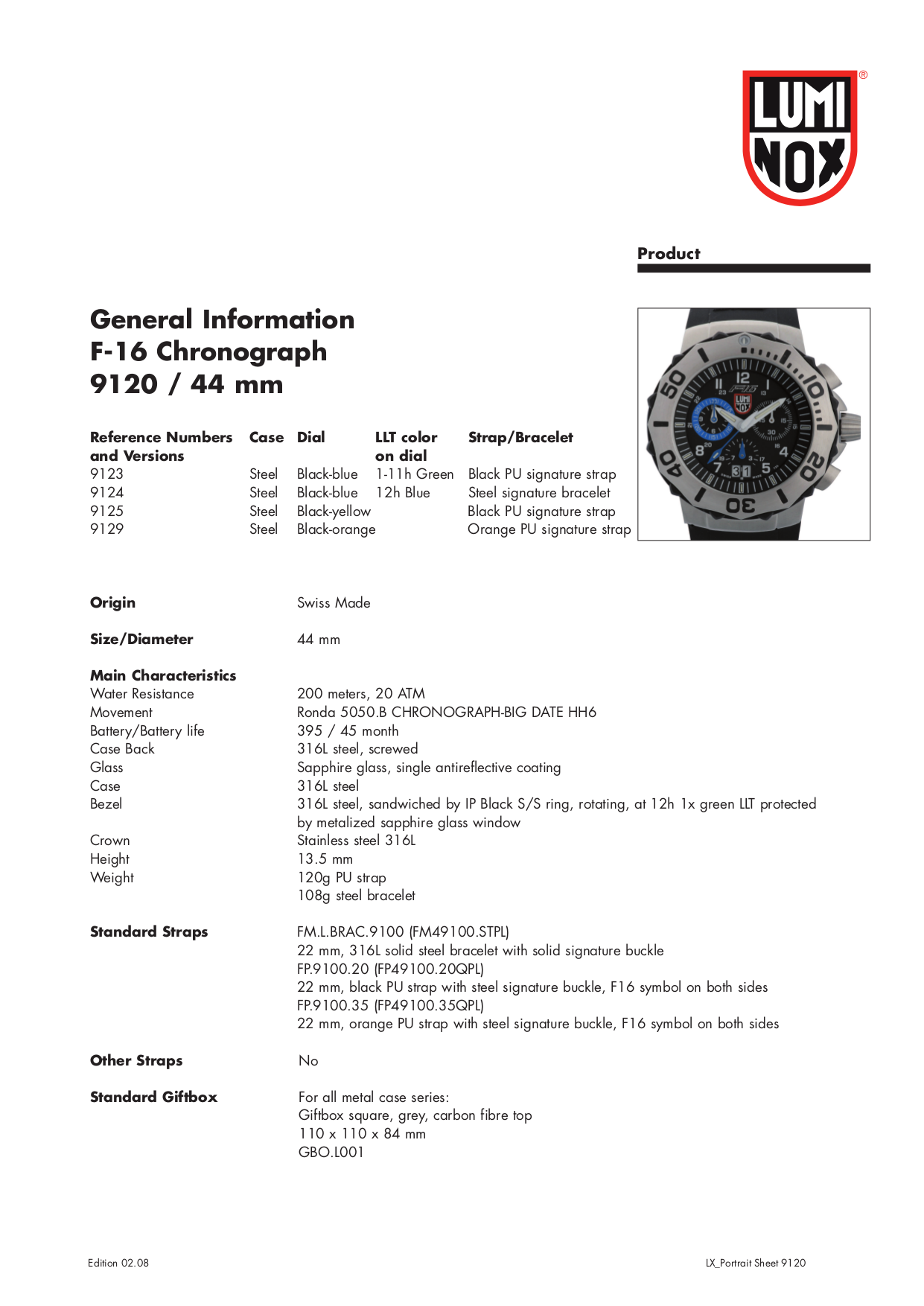 pdf for Luminox Watch 9129 manual