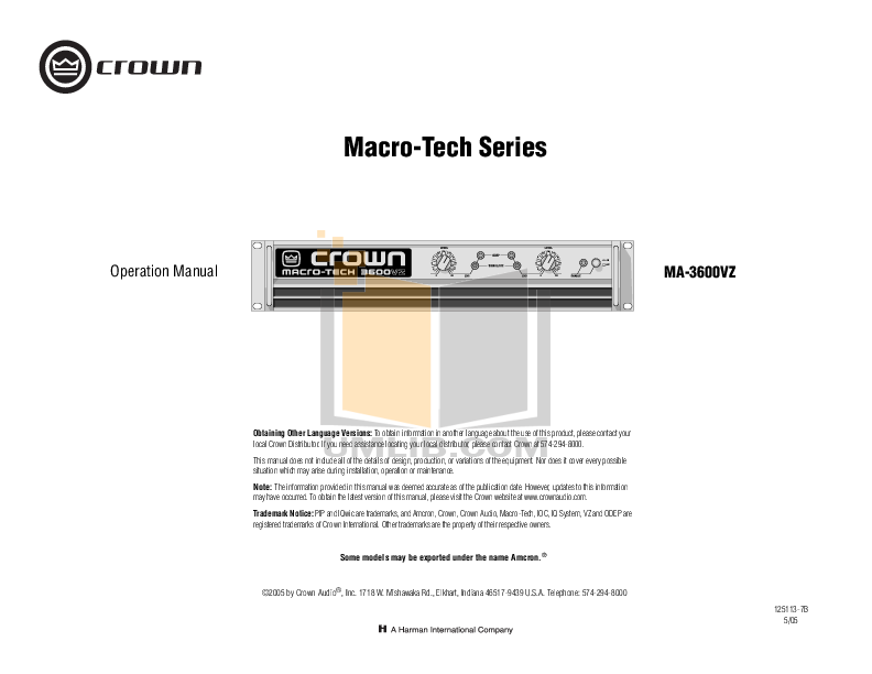 pdf for Crown Other IQ-PIP-USP3 CN Programmable Input Processors manual