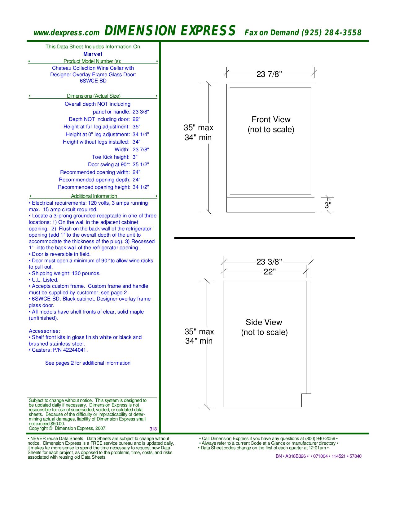 pdf for Marvel Refrigerator 6SWCE-BD manual
