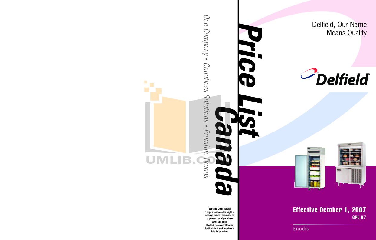 pdf for Delfield Refrigerator NLFAC-16 manual