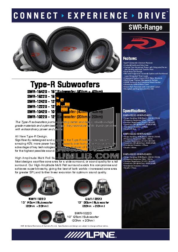 download free pdf for alpine swx 1242d subwoofer manual rh umlib com Alpine SWR- 1243D Alpine SWR- 10D4 Review