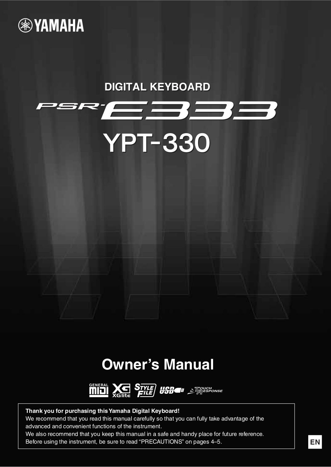 pdf for Yamaha Music Keyboard PSR-330 manual