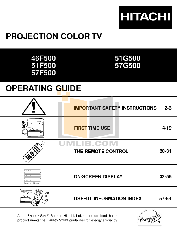 pdf for Hitachi TV 46F500 manual