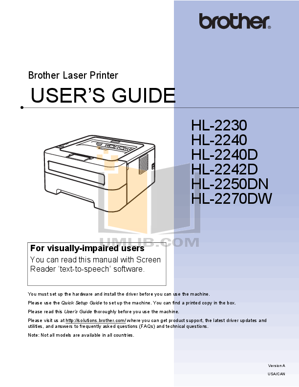 pdf for Brother Printer HL-2240 manual