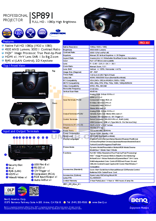 pdf for Benq Projector SP891 manual