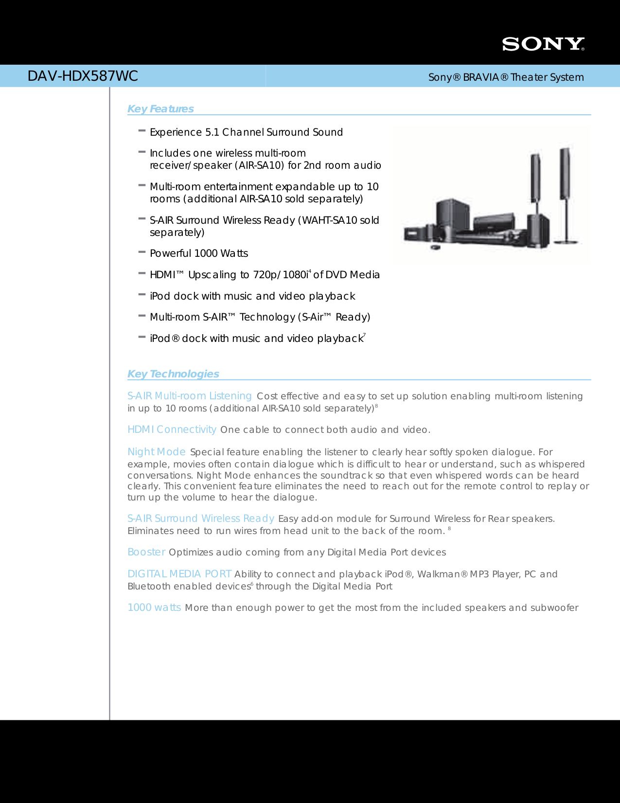 Download free pdf for Sony AIR-SA10 Speaker manual