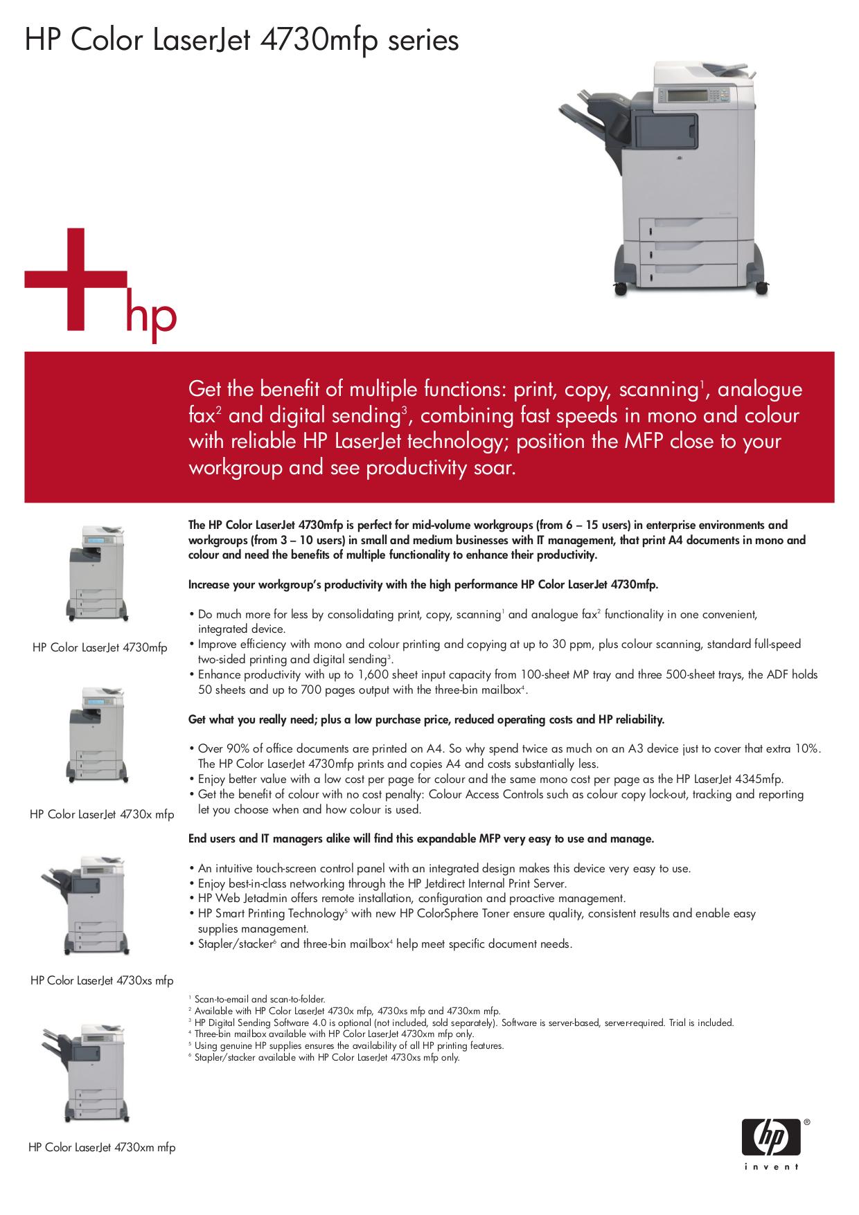 pdf for HP Multifunction Printer Laserjet,Color Laserjet 4730 MFP manual