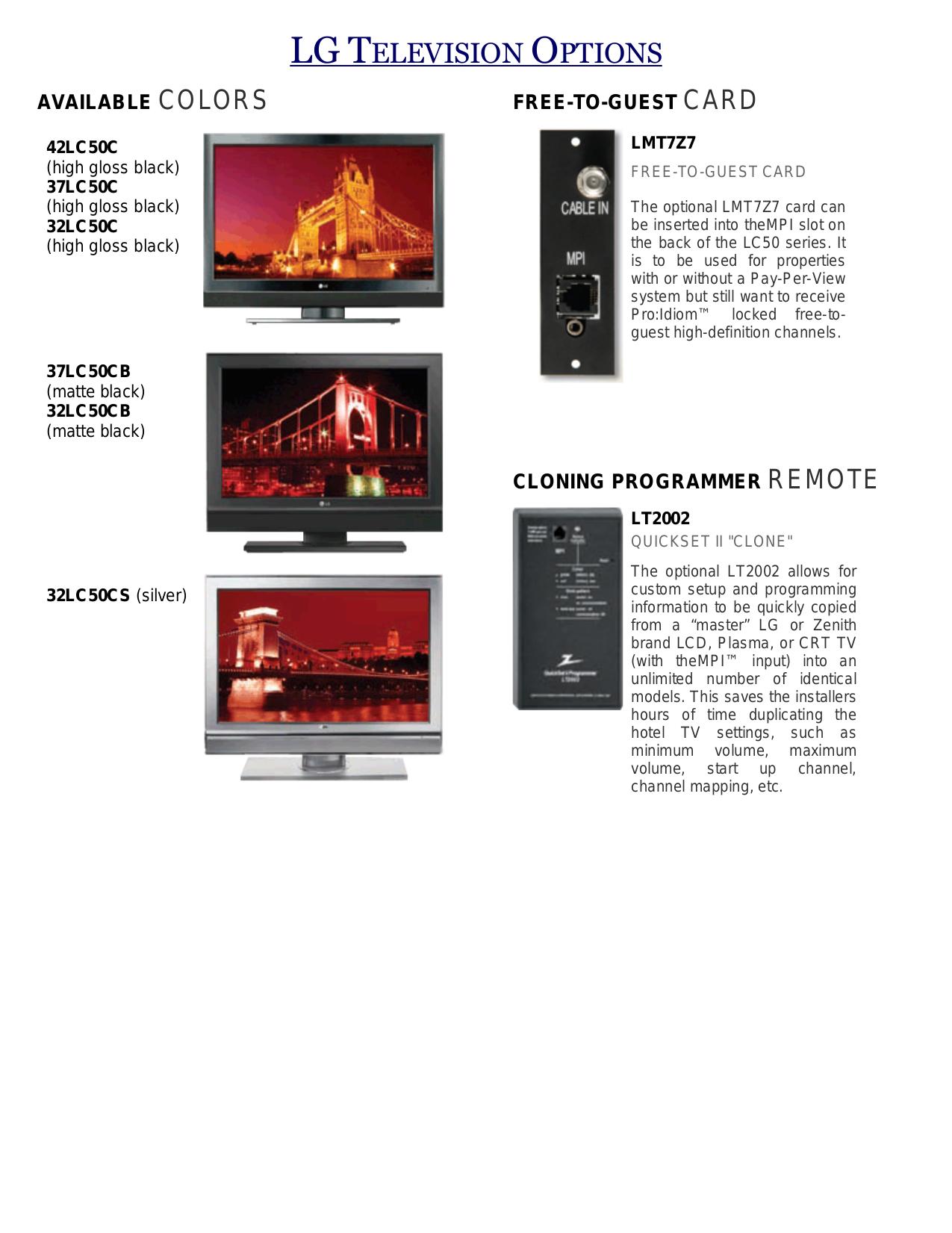 PDF manual for LG TV 37LC50CB