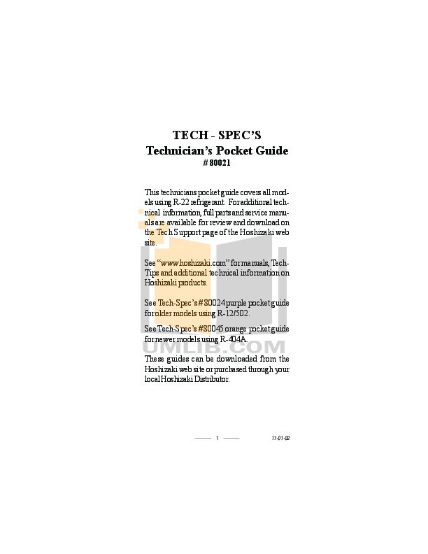 pdf for Hoshizaki Other KM-501MAH Cuber Machines manual