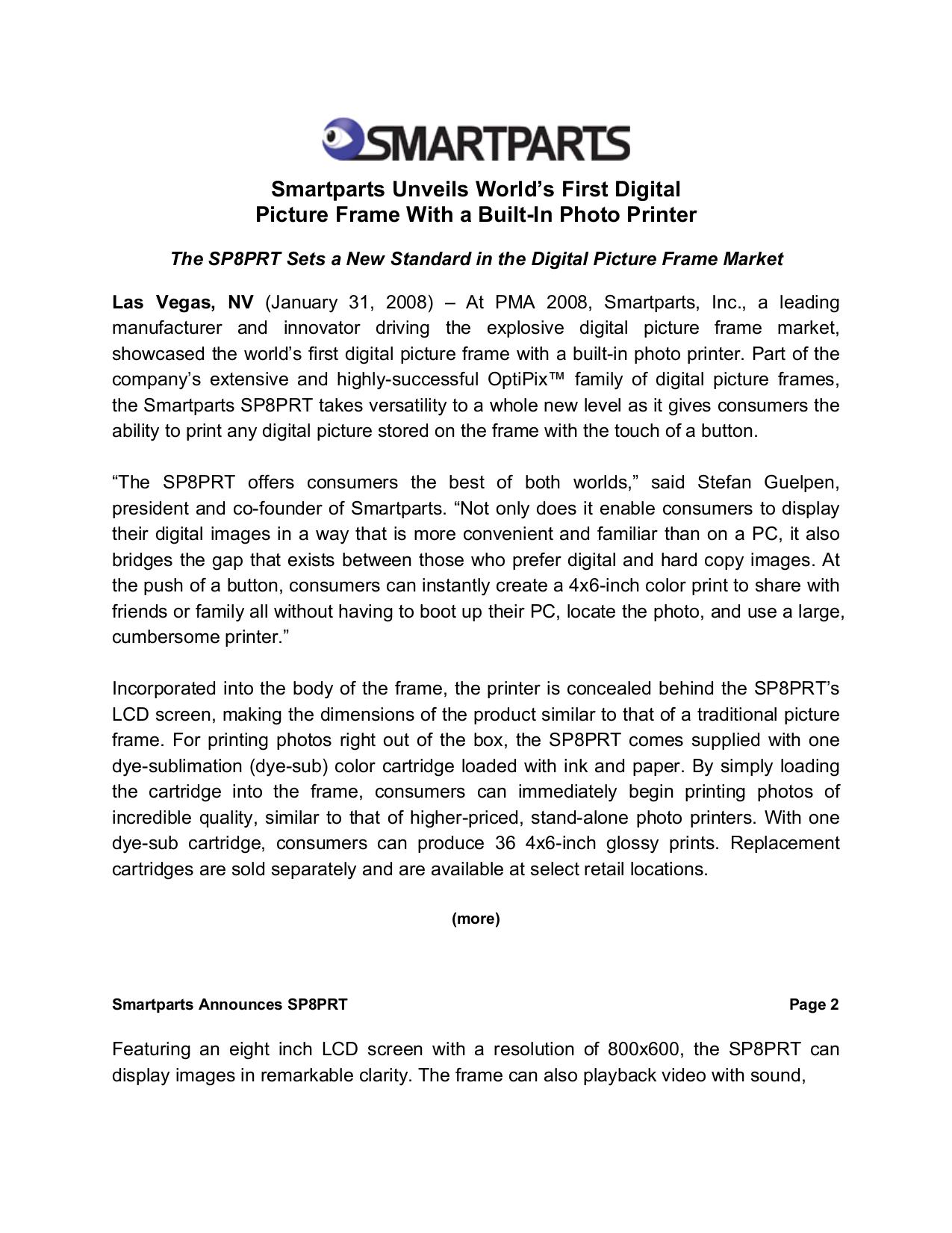 Download free pdf for Smartparts SP8PRT Digital Photo Frame manual