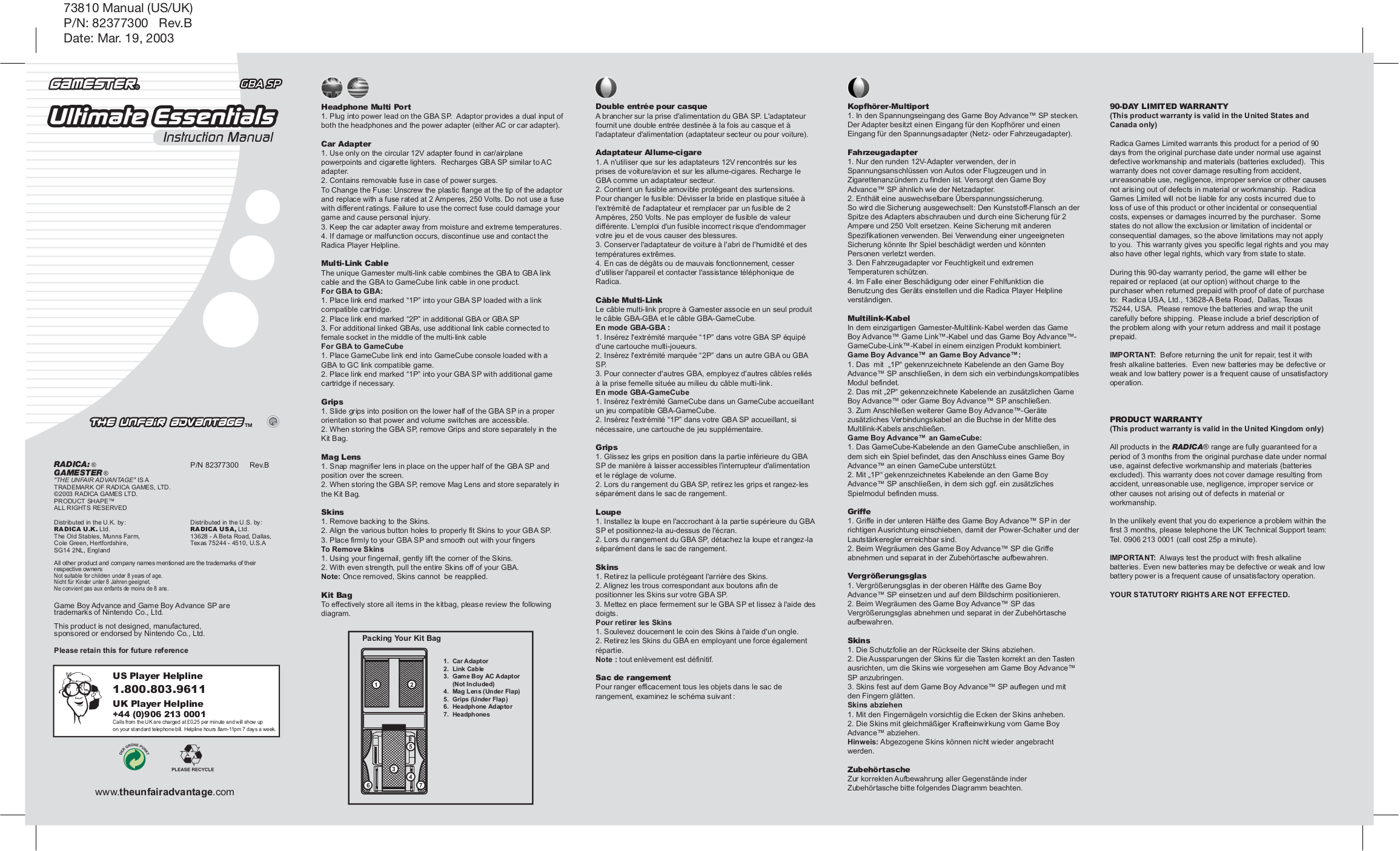 pdf for Nintendo Game Console Game Boy Link Cable manual