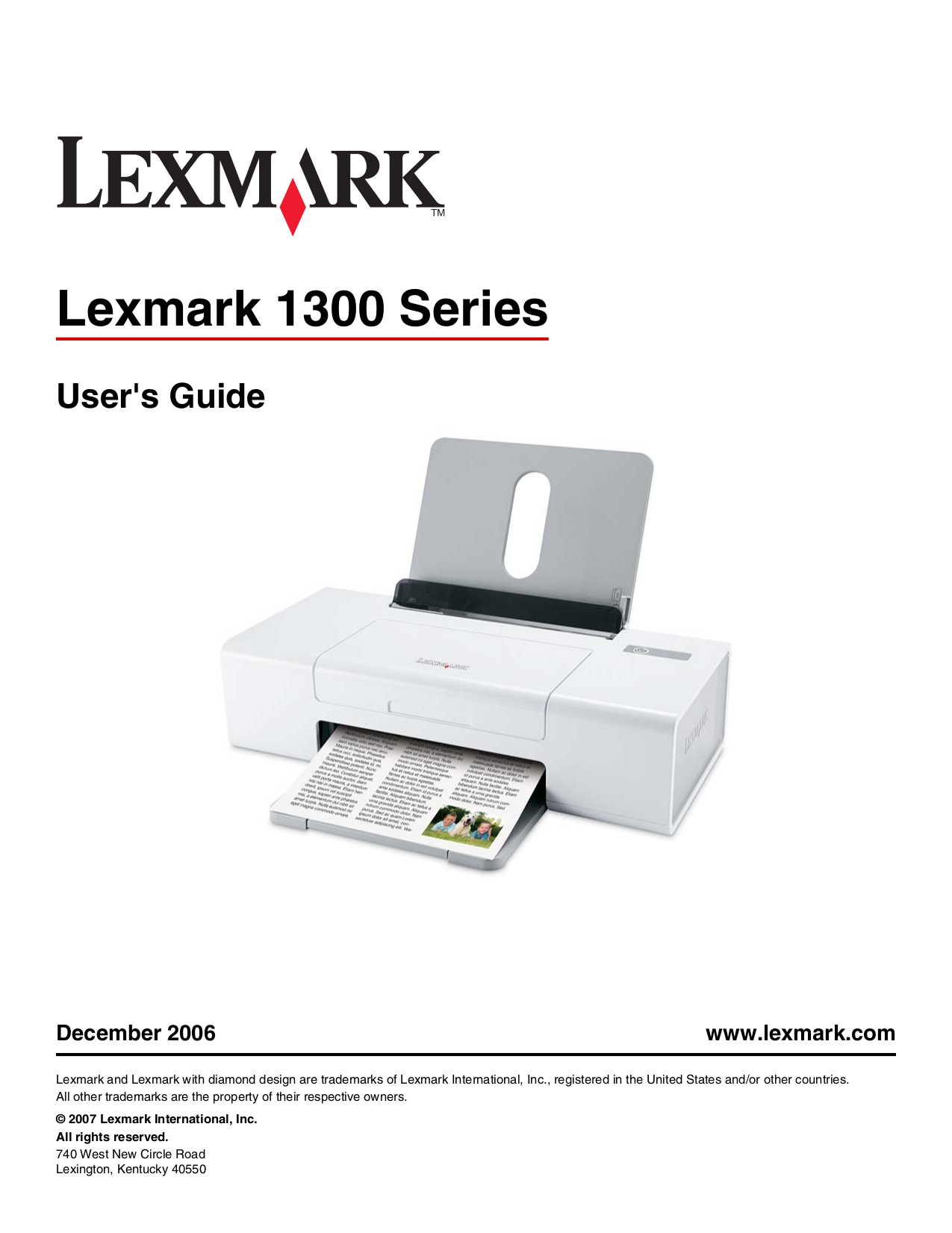 pdf for Lexmark Printer Z1300 manual