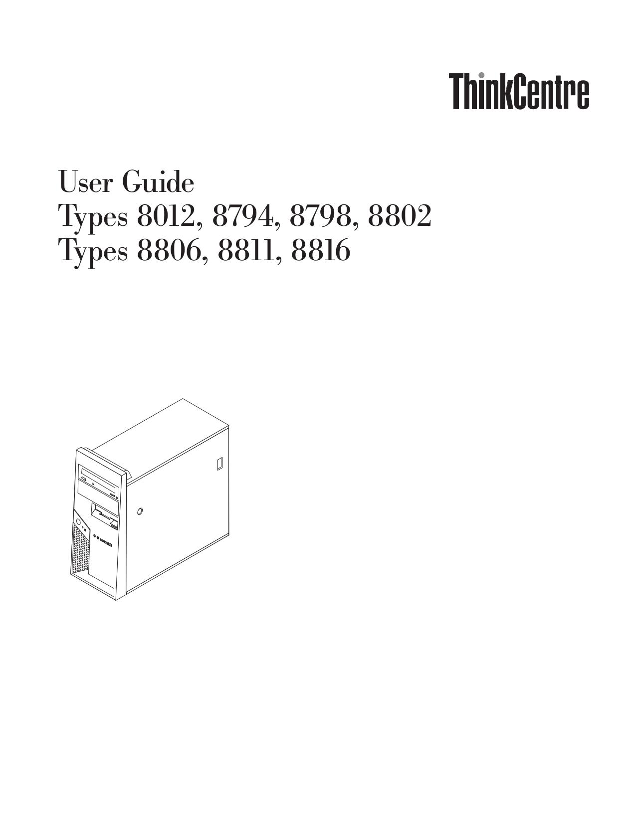pdf for Lenovo Desktop ThinkCentre M55p 8798 manual