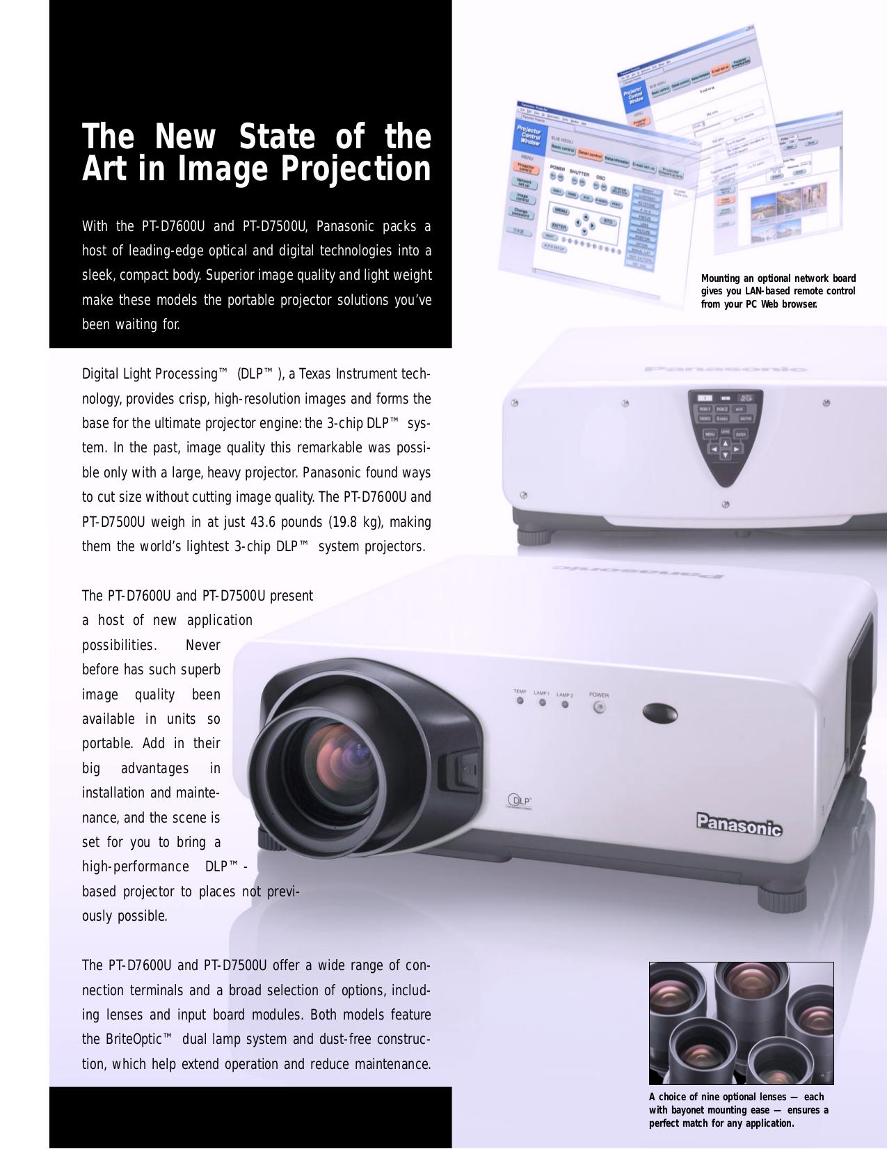 Panasonic Projector PT-D7500U pdf page preview