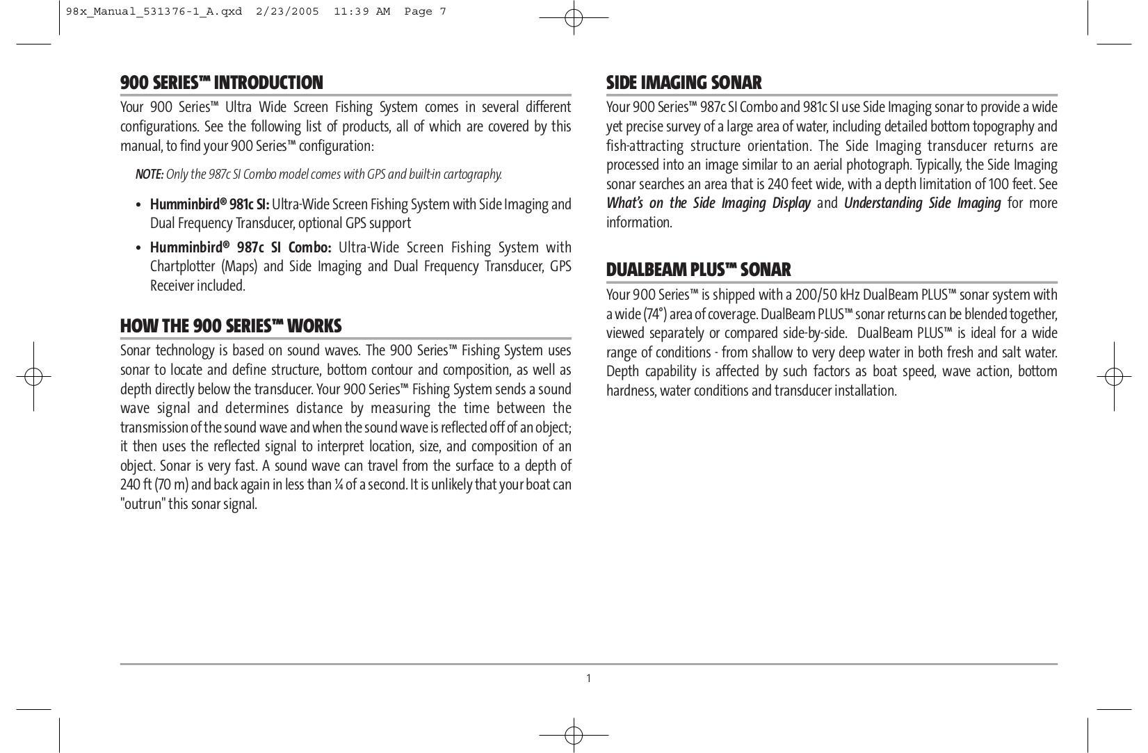 Humminbird GPS 987C SI pdf page preview