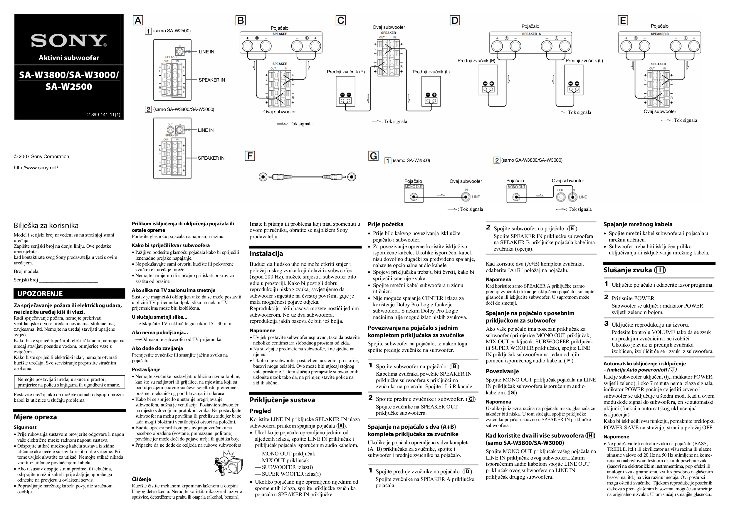 download free pdf for sony sa w3000 subwoofer manual rh umlib com Sony Home Subwoofer Sony SA W303 Subwoofer Specs
