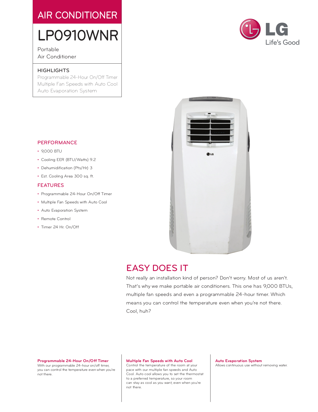 pdf for LG Air Conditioner LP0910WNR manual