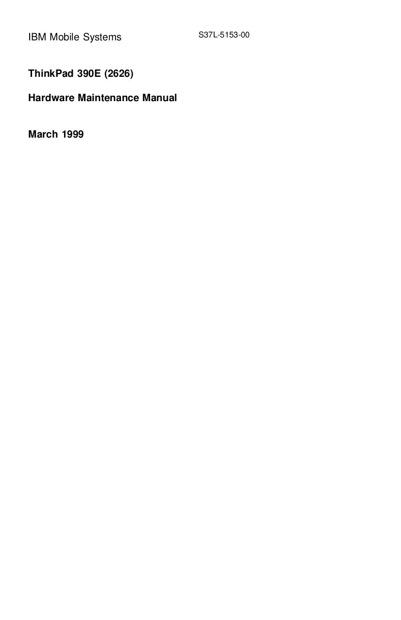 pdf for IBM Laptop ThinkPad 390E manual