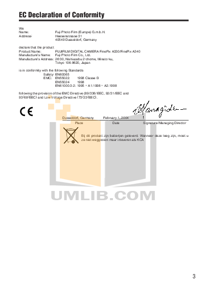 pdf manual for fujifilm digital camera finepix a340 rh umlib com  Fuji FinePix S6800 Digital Camera