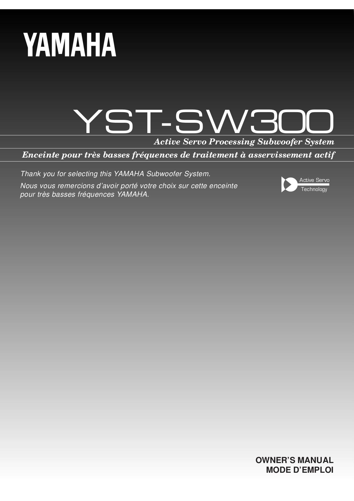 pdf for Yamaha Subwoofer YST-SW300 manual