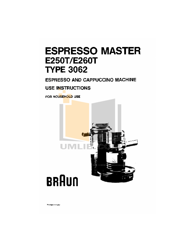 Braun Coffee Maker E20 pdf page preview