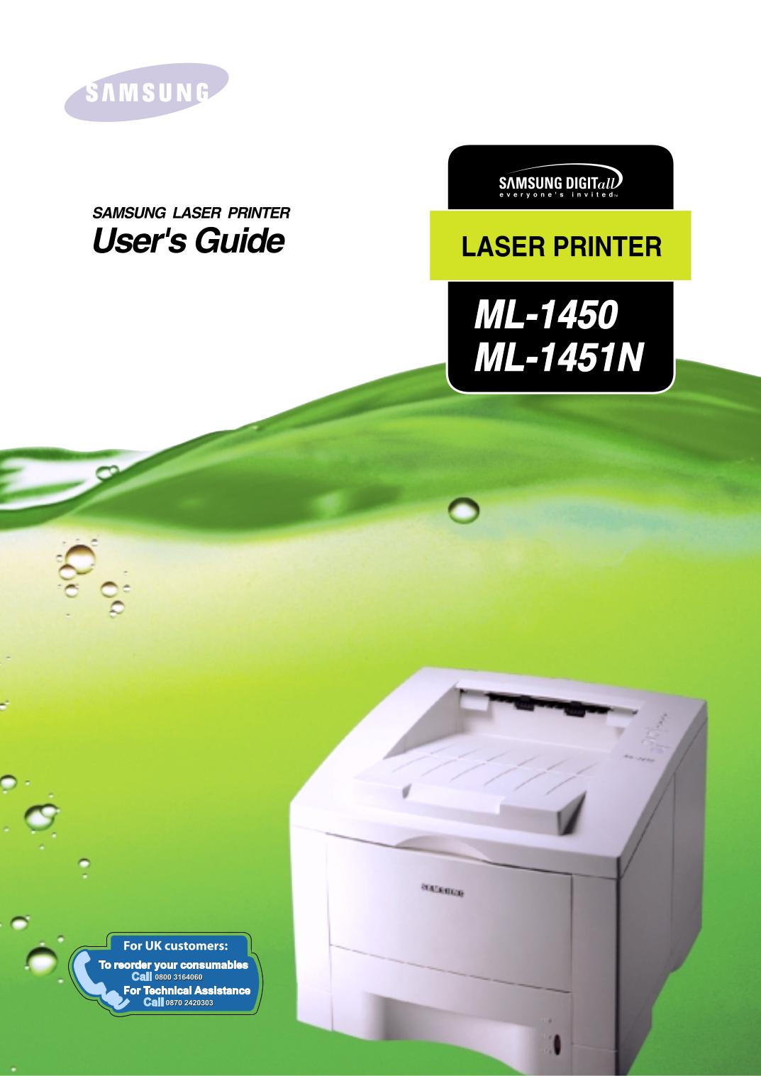 pdf for Samsung Printer ML-1450 manual