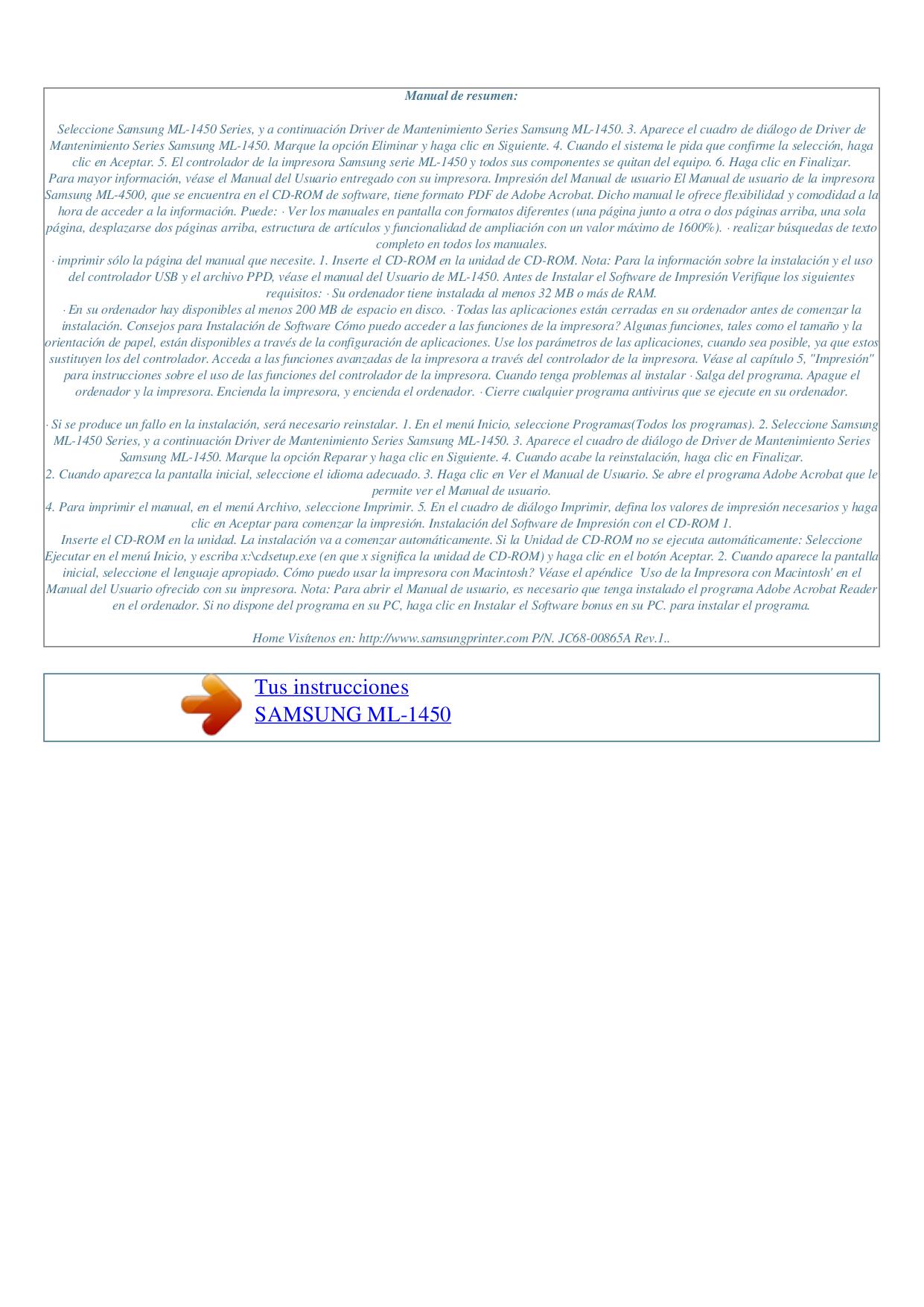 Samsung Printer ML-1450 pdf page preview