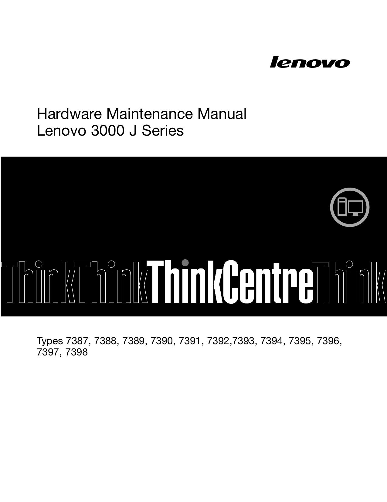 pdf for Lenovo Desktop 3000 J115 7387 manual