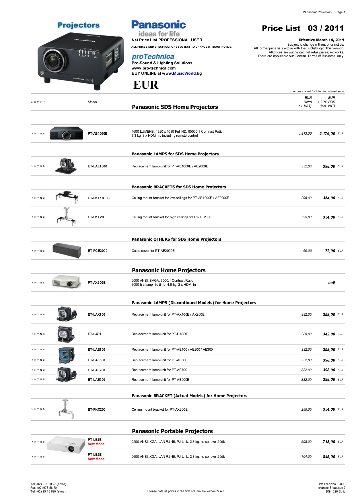 pdf for Panasonic Projector PT-F200 manual