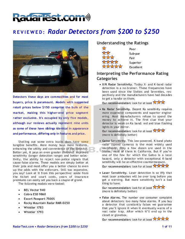 pdf for Escort Radar Detector Passport 7500S manual