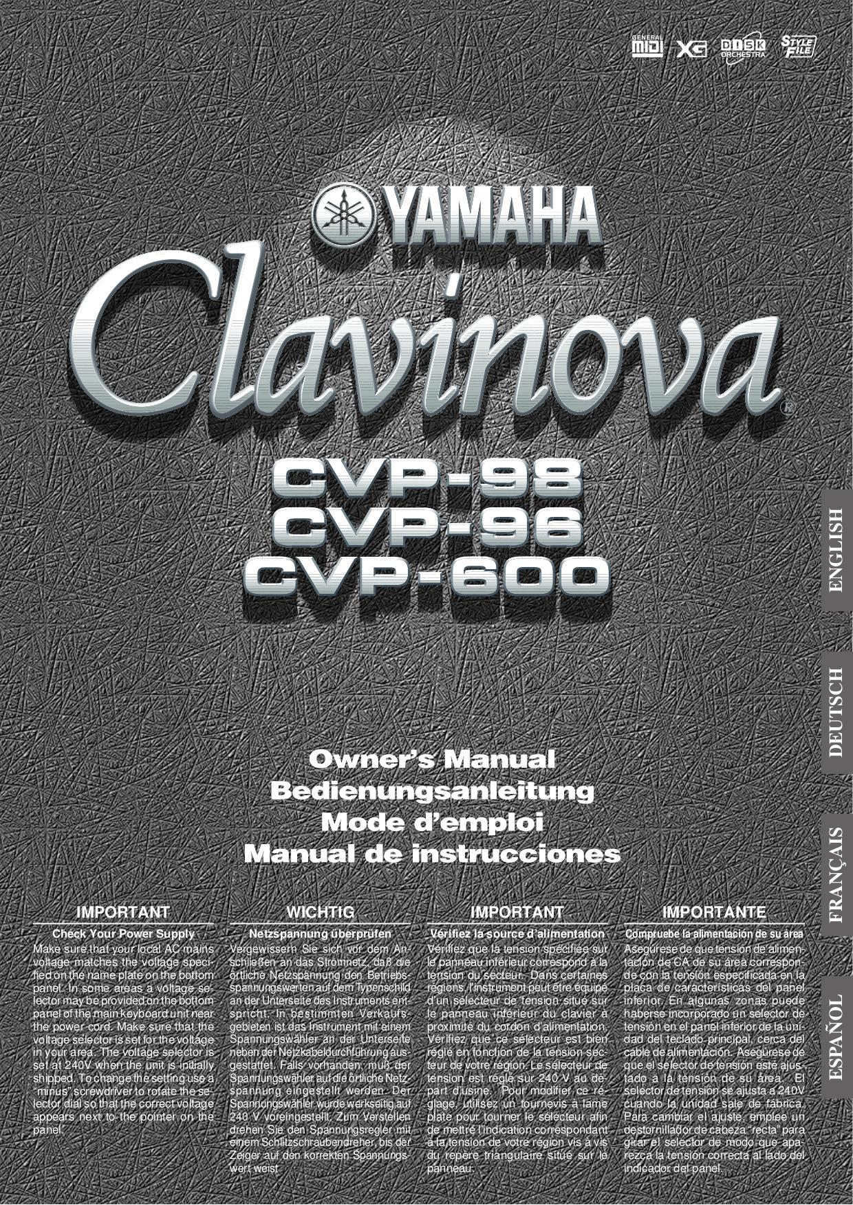 pdf for Yamaha Music Keyboard CLP-157 manual