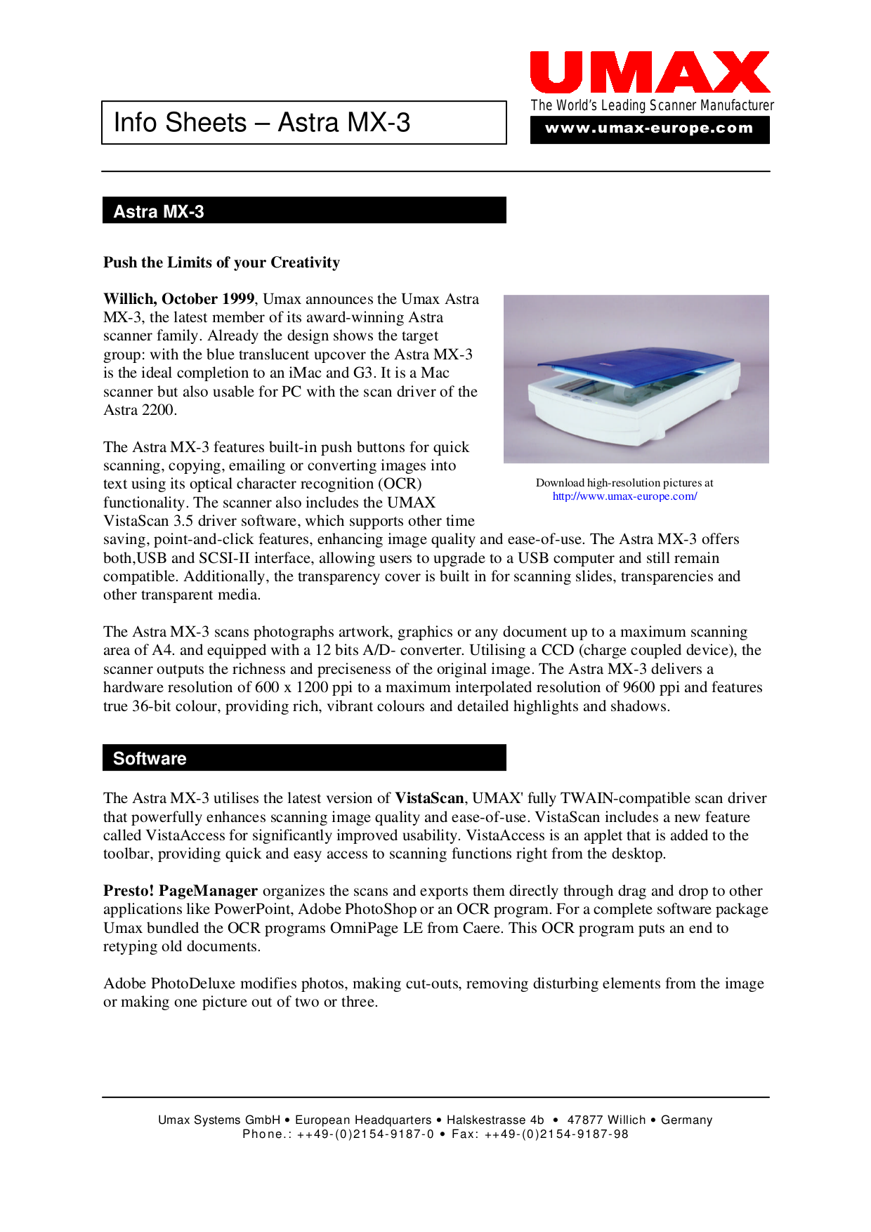 pdf for Umax Scanner Astra MX3 manual