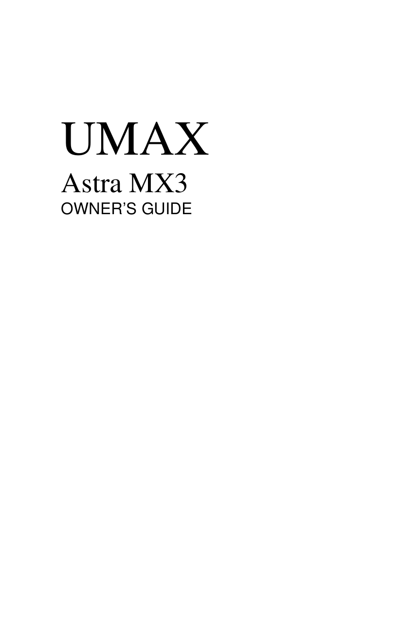 Umax Scanner Astra MX3 pdf page preview