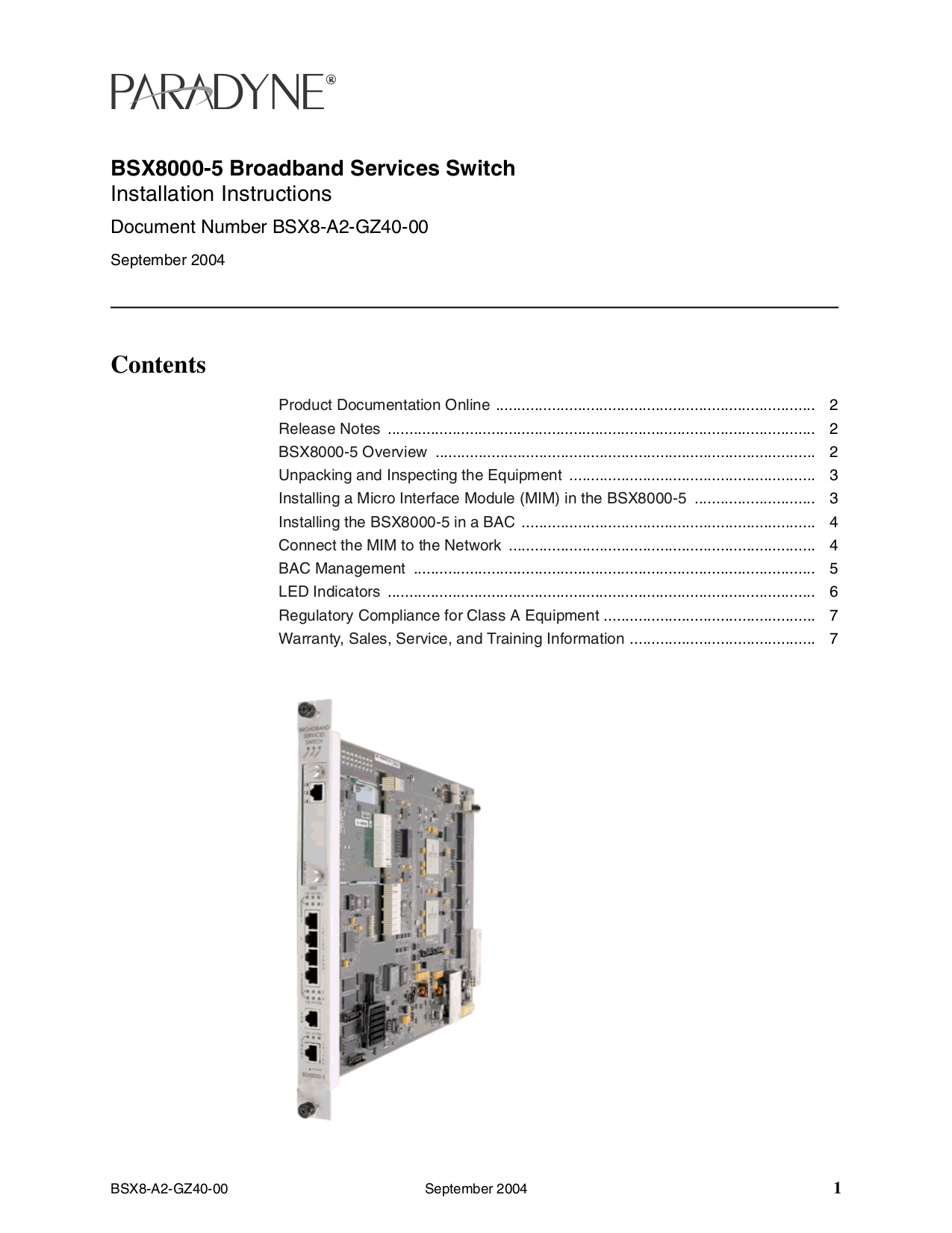 pdf for Zhone Switch BSX8000 manual