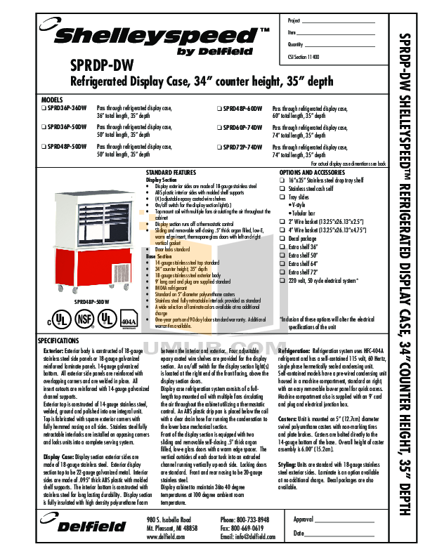 pdf for Delfield Refrigerator Shelleyspeed SPRD36P-50DW manual