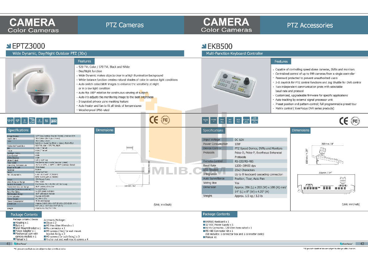 pdf for EverFocus Security Camera EPTZ3000 manual