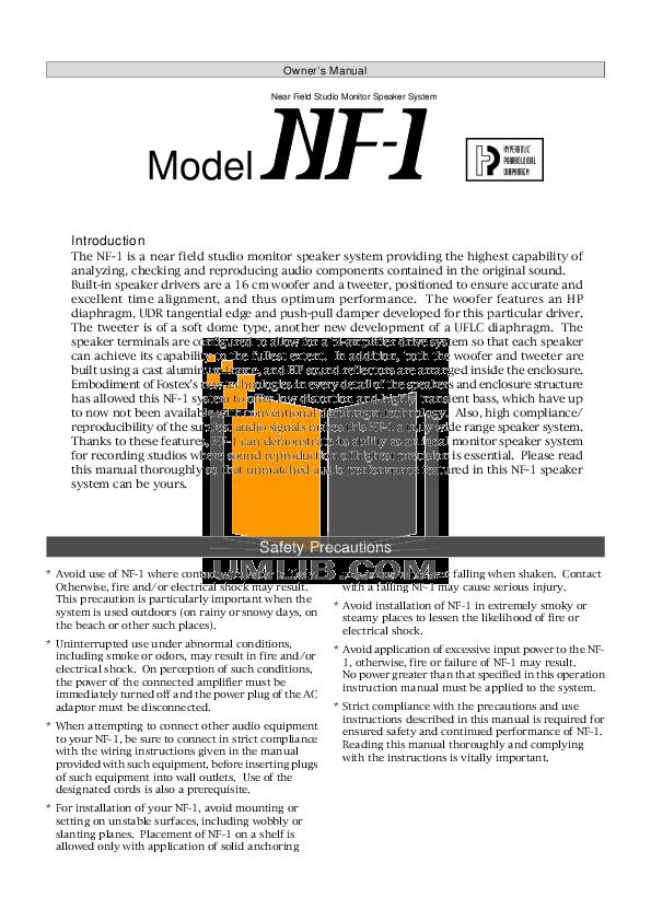 pdf for Fostex Speaker System NF-1 manual