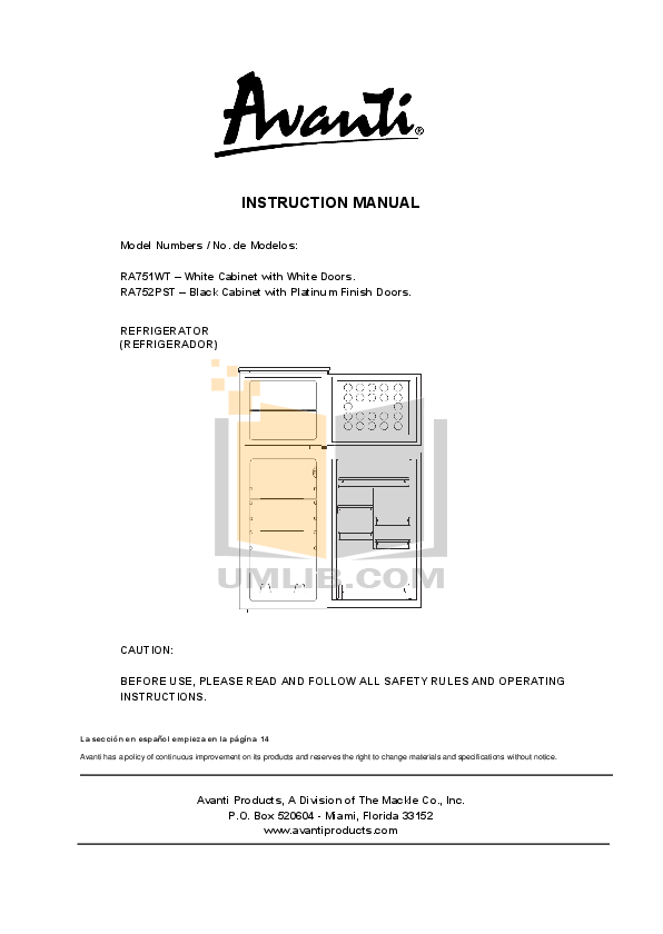 pdf for Avanti Refrigerator 18 CYC manual
