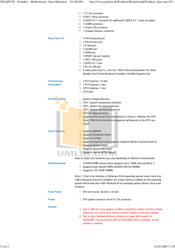 PDF manual for Gigabyte Other GA-MA69G-S3H Motherboards
