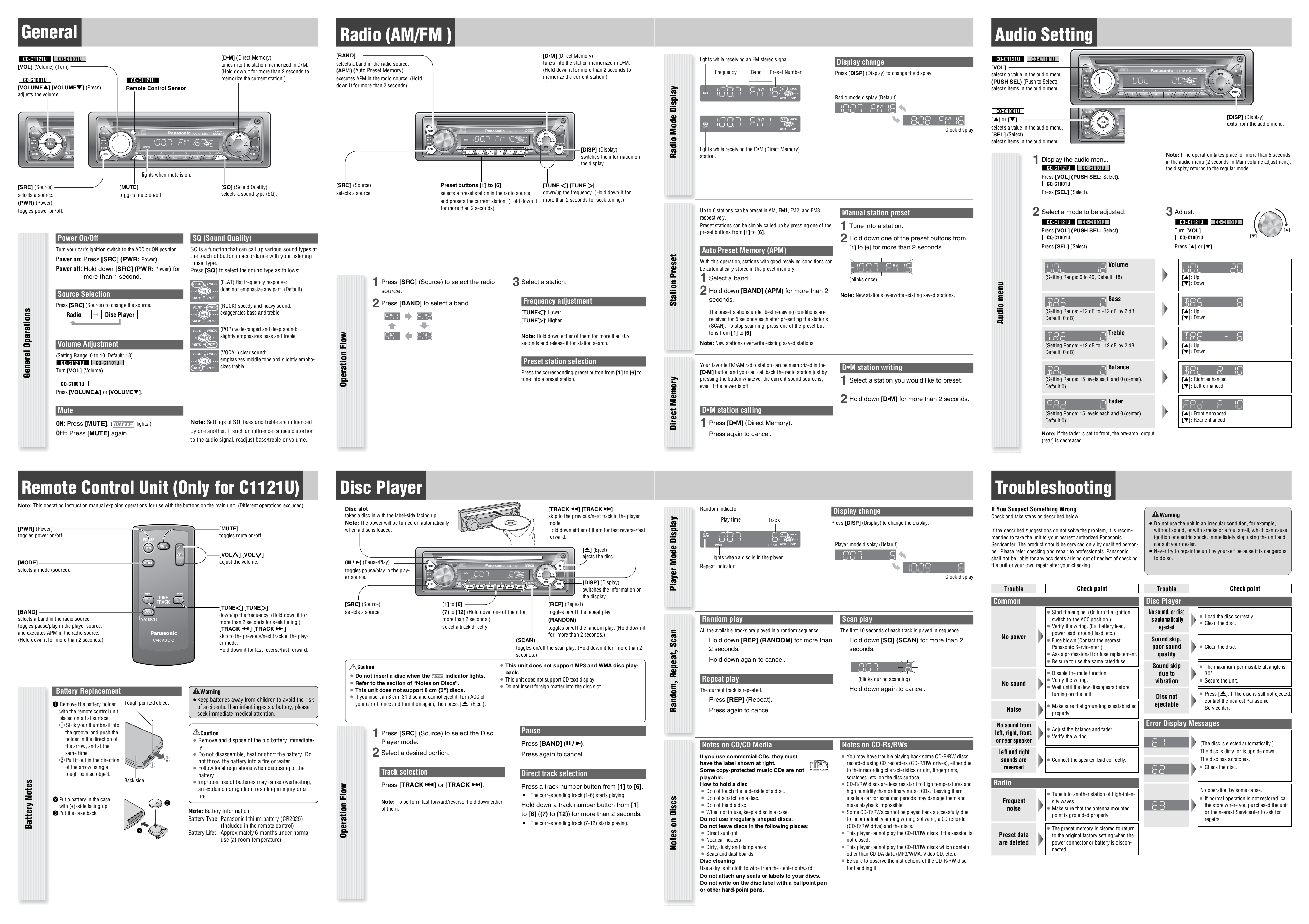 ... Panasonic Car Receiver CQ-C1101U pdf page preview