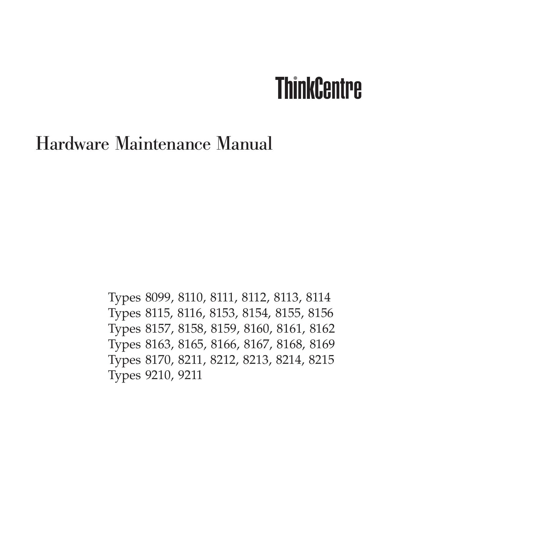 pdf for Lenovo Desktop ThinkCentre M52 8099 manual