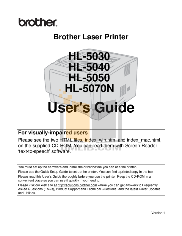 pdf for Brother Printer HL-5030 manual