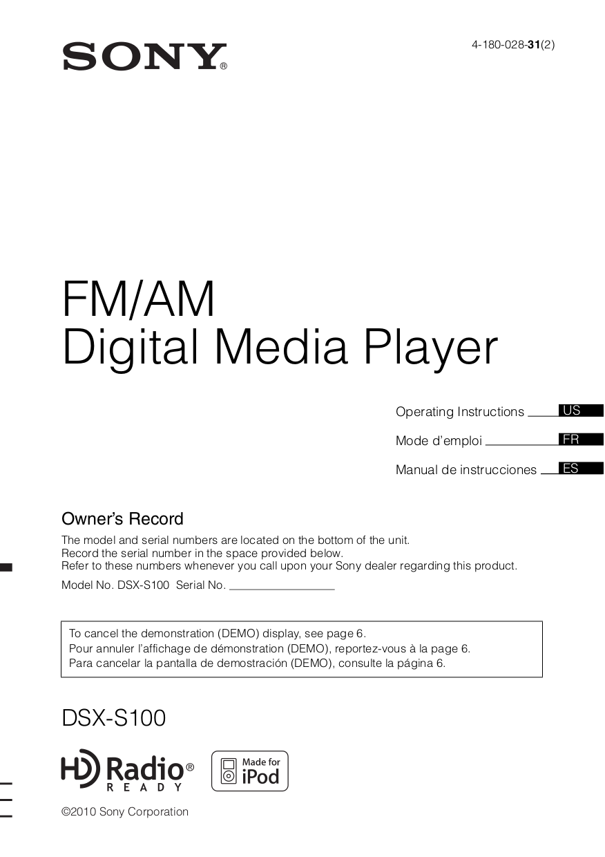 pdf for Sony Car Receiver DSX-S100 manual