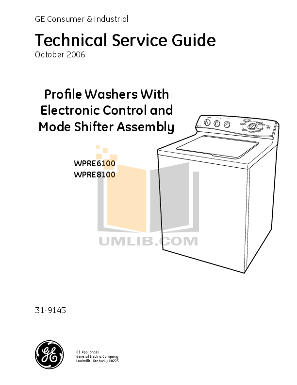 Download Free Pdf For Ge Profile Wpre6100g Washer Manual