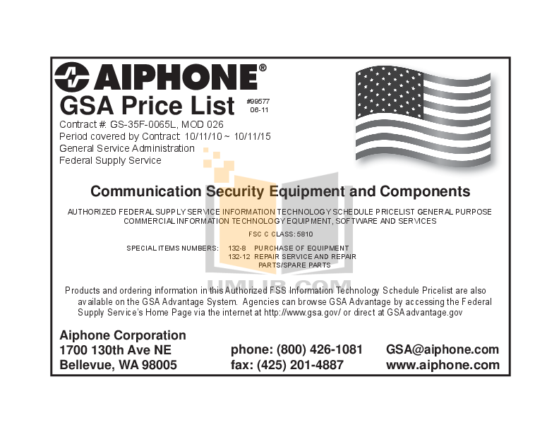 pdf for Aiphone Other LDF-40CA Intercoms manual