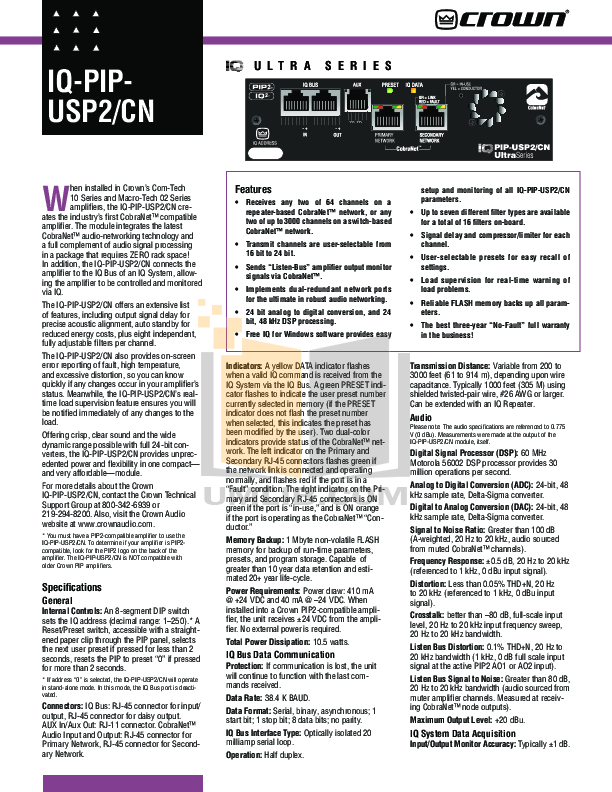 pdf for Crown Other IQ-PIP-USP2 CN Input Processors manual