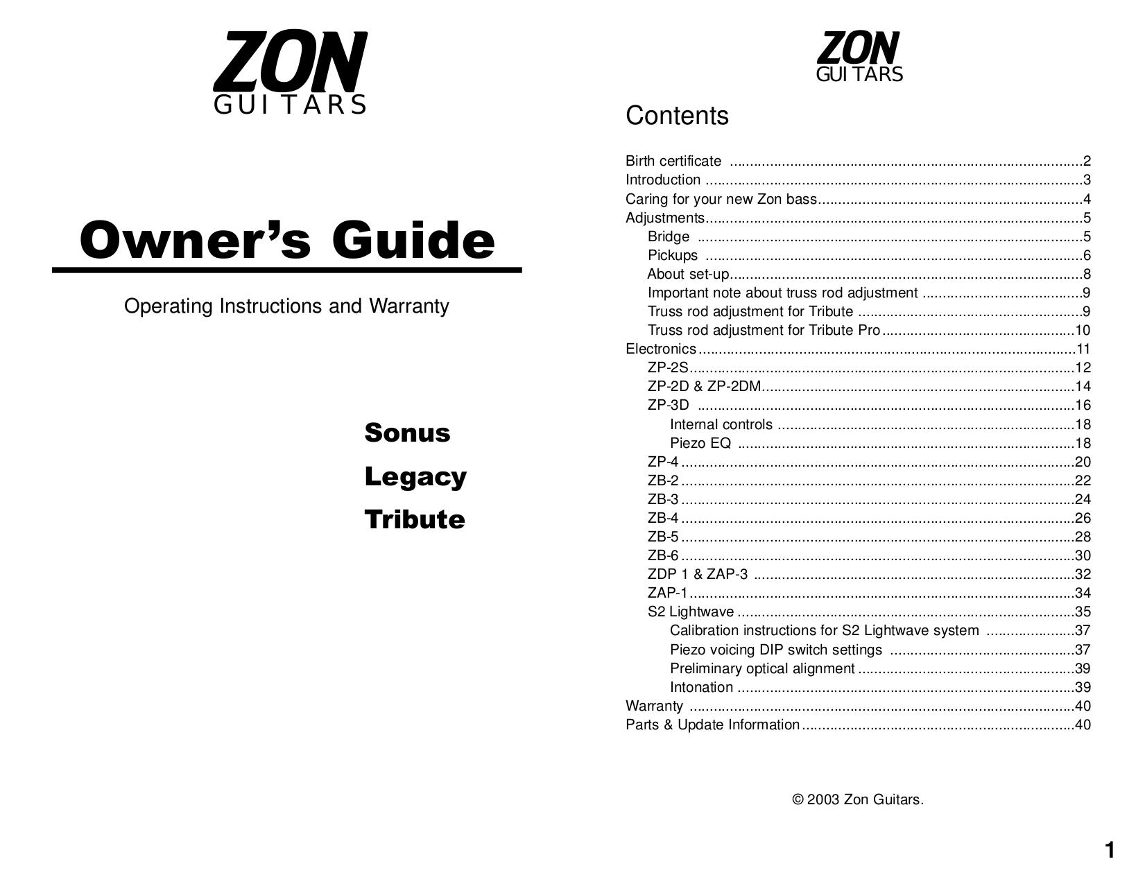 pdf for Zon Guitar Legacy Elite Special5 manual