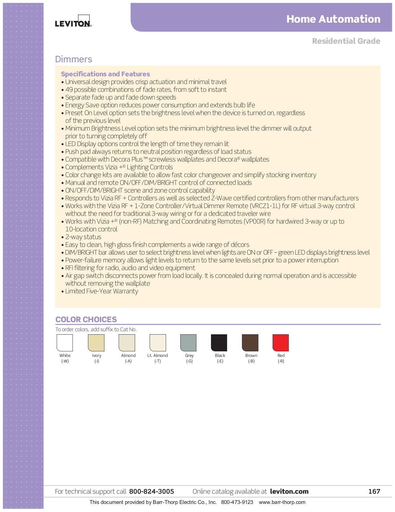 PDF manual for Leviton Remote Control HCCKR