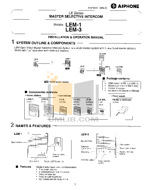 pdf for Aiphone Other LE-B4 Intercoms manual