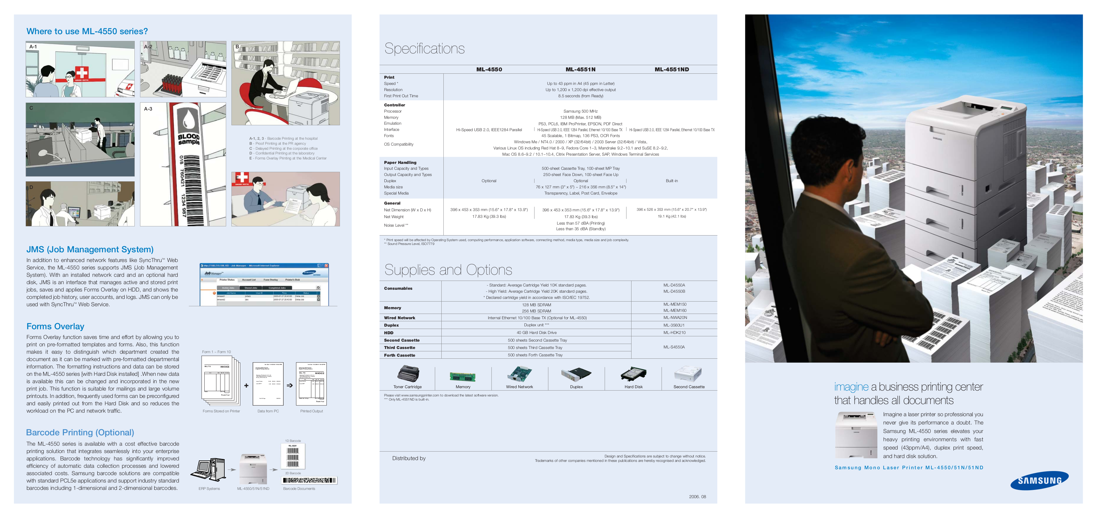 pdf for Samsung Printer ML-4550 manual